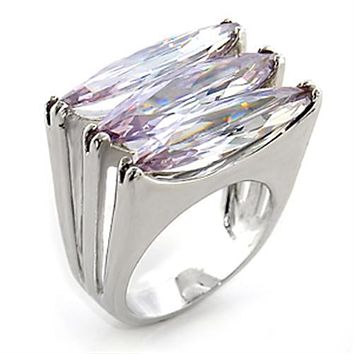 Women's Band Rings 80306 Rhodium Brass Ring with AAA Grade CZ