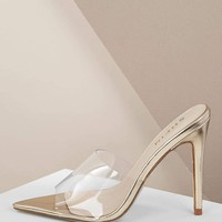 Pointed Toe Clear Band Slide On Heeled Mules