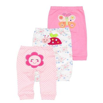 New 3pcs/lot 2018 baby clothes harem toddler Pants baby girl trousers Mid Waist 0-2 years cotton Newborn Unisex  Baby Leggings