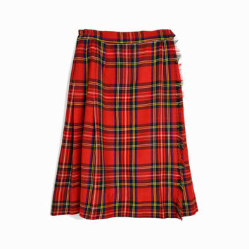 Vintage 50s 60s Red Plaid Wool Skirt / Tartan Plaid Skirt / Red Plaid Kilt / Fringed Wrap Skirt - women's xs