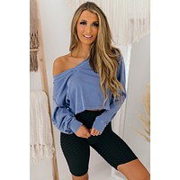 Better Be Sure V-Neck Long Sleeve Top (Indigo)