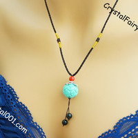 Genuine turquoise necklace lotus flower stone necklace coral obsidian charms chakra necklace crystal healing necklace yoga stone necklace