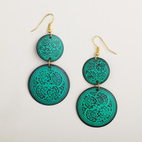 Turquoise Embossed Floral Double Drop Earrings