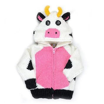 Kid's Hand-knitted Sweater - Darling Holstein Cow for Infant, Toddler