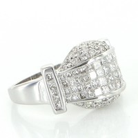 2.74ct Pave Diamond Dome Ring Vintage 14 Karat White Gold Estate Fine Jewelry