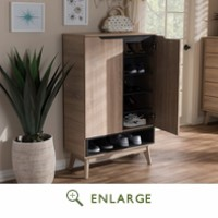 Baxton Studio Fella Mid-Century Modern Two-Tone Oak & Grey Wood Shoe Cabinet - FLSC00813-Hana Oak/Dark Grey-Shoe Cabinet