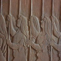 Aztec Warriors Large bas Relief carved wood panel