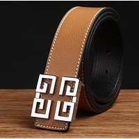 Givenchy Men Fashion Smooth Buckle Belt Leather Belt Khaki G