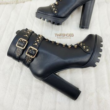 """Hailey Lace Up Gold Studded Ankle Boots 4.5"""" Chunky Heels 6 -11 Black"""