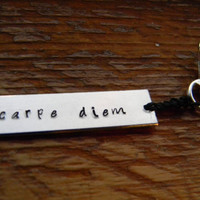 Carpe Diem hand stamped seize the day key ring by LindaMunequita