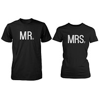 Mr and Mrs Wedding Band Matching Couple Black T-shirts (Set)
