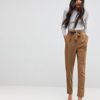 ASOS TALL Woven Peg Trousers with OBI Tie at asos.com