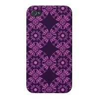 Curly Cute Flowers - Purple on Black iPhone 4/4S Covers