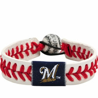 Gamewear MLB Leather Wrist Band - Brewers (Red)