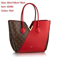 LV Women Black Hot Shoulder Bag Dark V Design Red Bag