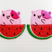Set 2pcs. Little Pig & Red Watermelon Cute Cartoon New Iron On Patch Embroidered Applique Size 3.7cm.x3.7cm.