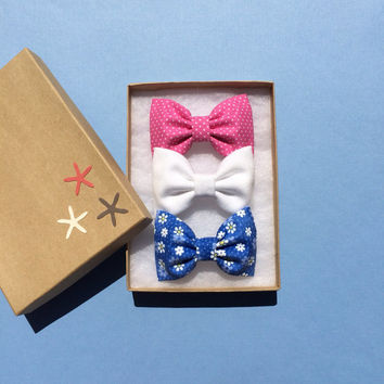Pink polka dot, white denim, and blue daisy hair bow lot from Seaside Sparrow. Perfect birthday gift for any girl.