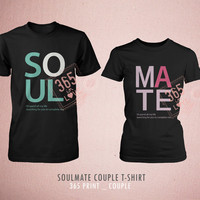 Couples Shirts Soulmate T-Shirts- Cute Matching Be My Soulmate Couple T-shirt (Black)