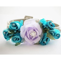 Lavender Blue Wedding Dog Collar, Wedding Dog Accessory, floral wedding