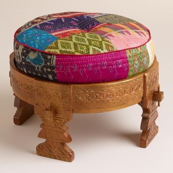 Moroccan Boho Wooden Stool with Silk Pouf Pillow Ottoman