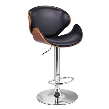 Adeco Black Leatherette and Walnut-Color Wood Hydraulic Lift Adjustable Barstool Low Back Curved Seat, Chrome Accent Pedestal Base