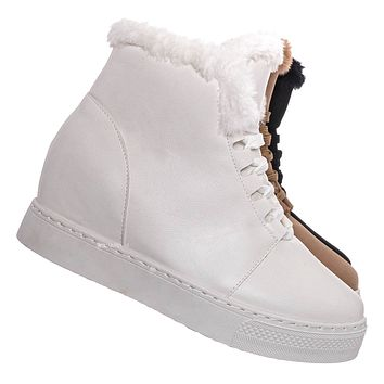 Rise18 Hidden Wedge Faux Fur Sneaker - Shearling Lace Up Platform Ankle Bootie