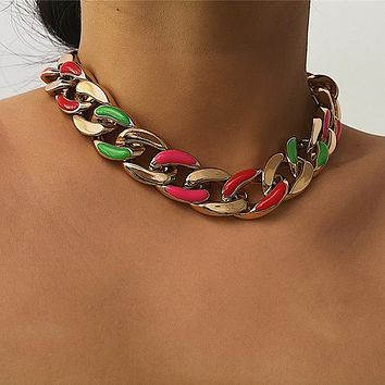 Punk Golden Chain Choker Necklace For Women Vintage Cross Chain Charm Necklace Jewelry Female Accessories Gift