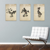 Disney Inspired Silhouettes: Mickey, Donald, Goofy (3) 11X17 Art Prints, With Heart Studios - Vintage, Gift, Posters