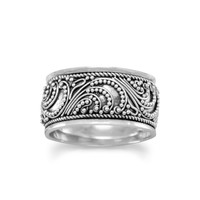 Sterling Silver Oxidized Bead Ring with Rope Edge