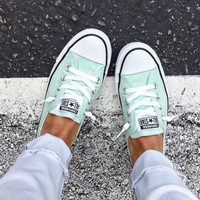 Converse All Star Sneakers canvas shoes for women sports shoes low-top mint green