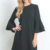 Flare Sleeve Shift Dress - Black