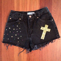 "Black high-waisted denim shorts ""Black Cross"""