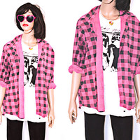 Vintage Le Tigre Pink and Black Buffalo Plaid Button Up