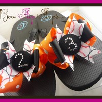 Design your own Baseball Bow Rhinestone Number Flip Flops - Choose your colors
