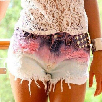 Casual Shorts Pink Slim High Rise Jeans [4919721092]