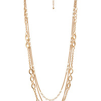 FOREVER 21 Faux Pearl & Chain Necklace Cream/Gold One