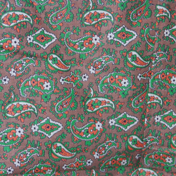 """Vintage Taupe Green and Orange Paisley Print Fabric 1-5/6 yds x 36"""" wide"""