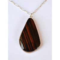 zebra wood tear drop necklace