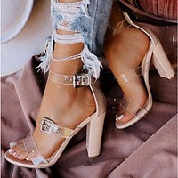 New style thick heel transparent belt ladies high heel sandals