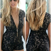 Cruise Fever Floral Print Textured Black Deep-V Romper