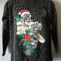 Vintage Ugly Christmas Sweater/Sweatshirt -Kittens On Mail Box - Very Precious- Aww- Adult Small / Medium