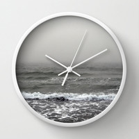 Wall Clock, Gray Fog Beach Surf Landscape Hanging Clock, Loft Coastal Nautical Home Boho Hippie Interior Clock, Black White or Natural Frame