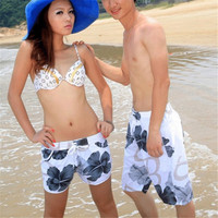 Men/Women Beach Surf Board Shorts Couple Gray Floral Swim Pants Trunks L-XXL New  H1