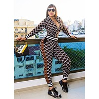 Fendi New fashion more letter print long sleeve coat and pants two piece suit