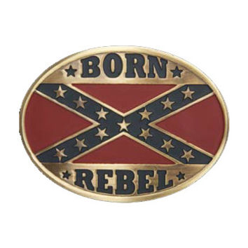 And West Fashion Collection Bronze Oval Rebel Flag Belt Buckle