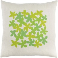Little Flower Throw Pillow Green, Green