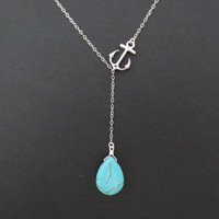 Anchor turquoise lariat, silver marine necklace, beach summer jewelry, new year's gift, modern, gift for her