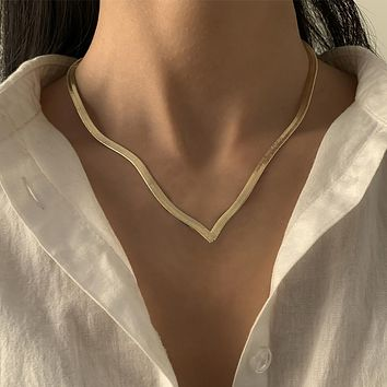 Simple Minimalist Gold Color Snake Chain Choker Necklace Harajuku Hip Hop Single Layer Love Chain Charm Necklace Gifts
