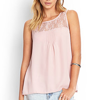 FOREVER 21 Pleated Lace Top
