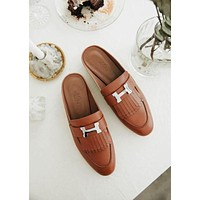 Hermes Tassel Casual Fashion Women Sandal Slipper Shoes Brown
